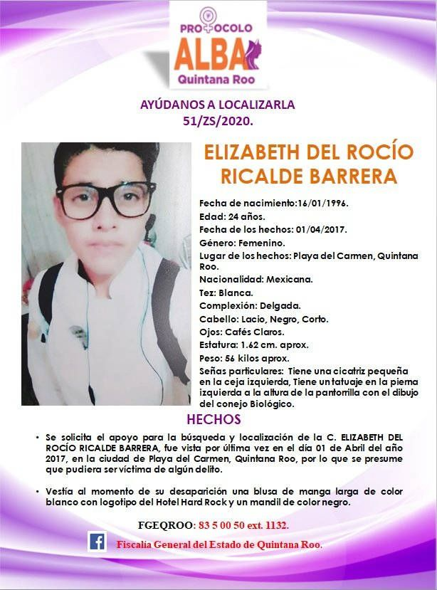 Reinicia la fiscalía búsqueda de Elizabeth, desaparecida en 2017 cuando trabajaba en el Hotel Hard Rock