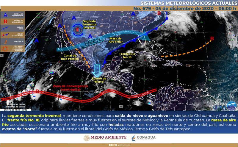 Frente frío 18 originará lluvias en el sureste mexicano. Noticias en tiempo real