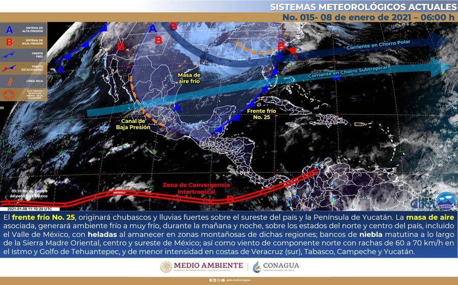 Chubascos y lluvias para el sureste del país