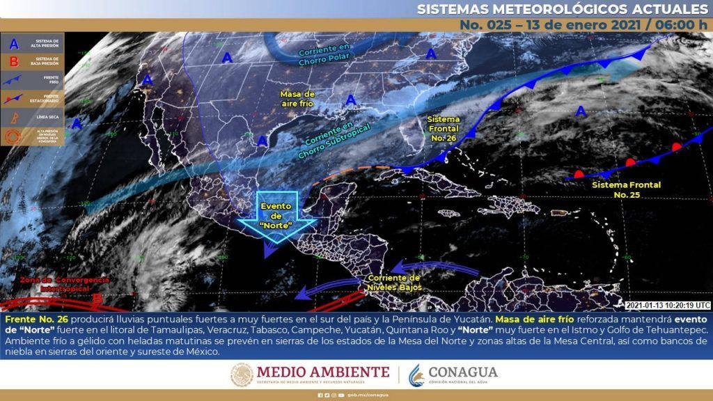 Continuarán las lluvias en el sur del país