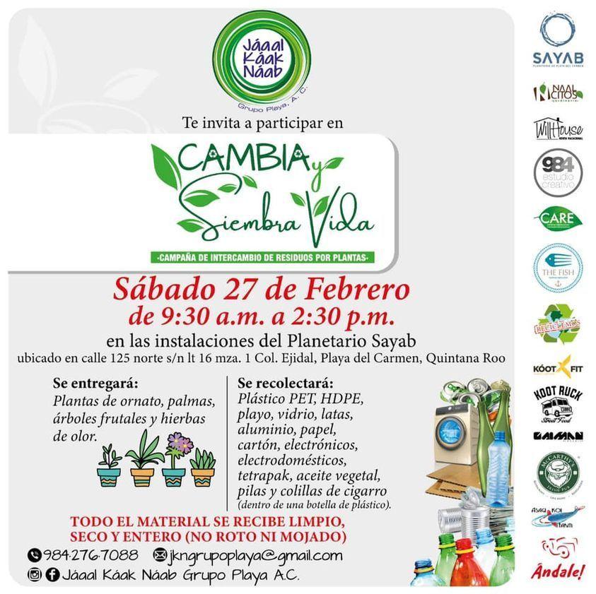 Invitan a participar en la campaña #CambiaySiembraVida